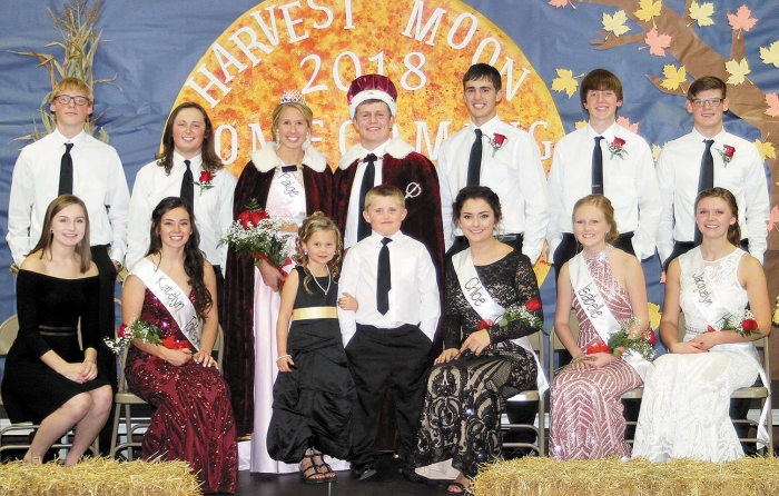From left to right in front are Mya Kurkosky, Katelyn Tolifson, Ava Nichols, Blake Larson, Chloe Collins, Isabelle Abner, and Jacquelyn Hanson.  In back are Toby Gonnerman, Cole Petrick, Queen Paige Cain, King Jared Knutson, Riley Grube, Matt Goossen, and Hunter Gonnerman.