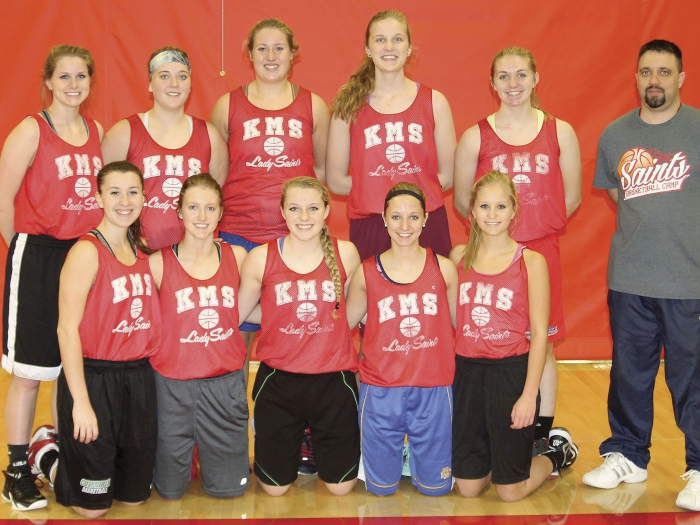 Pictured above are members of the KMS varsity girls basketball team for 2015-2016.  In the front row from left to right are Eden Norton, Alexis Lamecker, Sam Gjerde, Kari Holt, and Molli Strandberg.  Back row -- Ashley Just, Andrea Olson, Molly Jeppesen, Hanne Tebben, Wendy Bauman, and head coach Brady DeBaere.  Not pictured was Kallee Anderson.