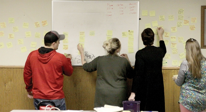 Sticky notes stating good things about BHS and its challenges were sorted into categories at a Feb. 19 meeting attended by parents, grandparents, coaches, teachers, and interested District 777 residents. The primary objective of the meeting was to look for ways to improve the competitiveness of the high school's athletic programs.