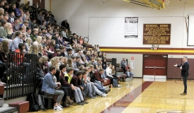 Doug Griffiths talks with students at Benson High School about his years as a junior high teacher in Canada and how he motivated his students to examine their lives and the destructive behaviors that could derail their future success.