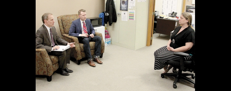 Minnesota Secretary of State Steve Simon, accompanied by his director of communications Ryan Furlong, met with Swift County Safe Avenues coordinator and Safe at Home application assistant Christine Thompson last Friday.