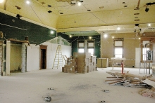 Can you guess what space this is in the Swift County courthouse? It is the gutted area that once housed the north and south courtrooms, the hallway, and judge's chambers.  All the walls are gone now and the ceiling is opened up. But this view will soon be gone as the renovation project installs new walls and a new ceiling.