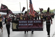 Benson High School's marching band leads off the 32nd annual Pioneerland Band Festival last Friday despite a little rain delaying the start of the parade.