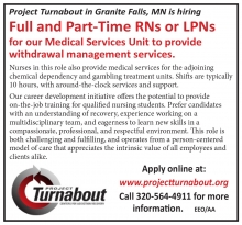Project Turnabout in Granite Falls MN central Minnesota has openings for full and part time RN or LPN