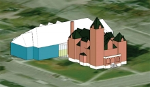 An architect's drawing of how the new facility would be placed.