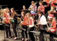 The saxophones are featured during one of the songs by the Jazz I group.  From left to right are Dana Rud, Erin Dubbels, Mariah Ahrndt, Abbie Mitteness, Benji McGee, and Gracie Lenz.